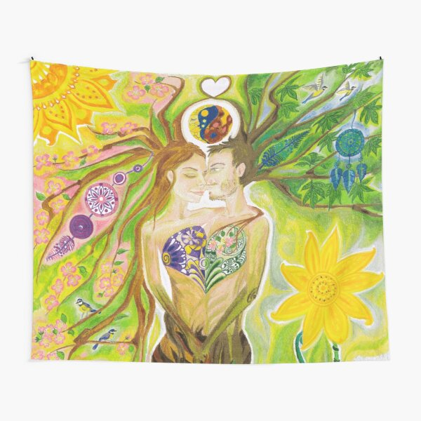 Trees of Life in Love Twin Flames Yin Yang Colored Pencils Tapestry