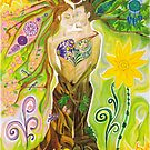 Trees of Life in Love Twin Flames Yin Yang Colored Pencils by Medilludesign