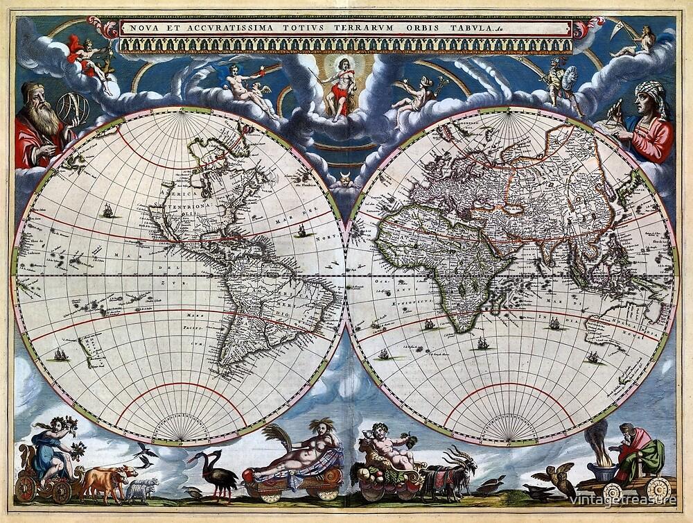 Antique old world map 1664 Restored by vintagetreasure