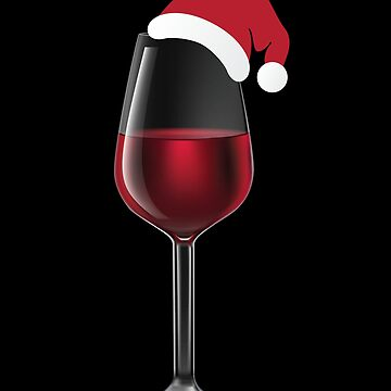 Glass of Wine with Santa Christmas Hat - Funny Drinking Alcohol Design by BullQuacky