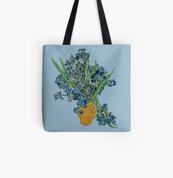Van Gogh Iris Grunge All Over Print Tote Bag