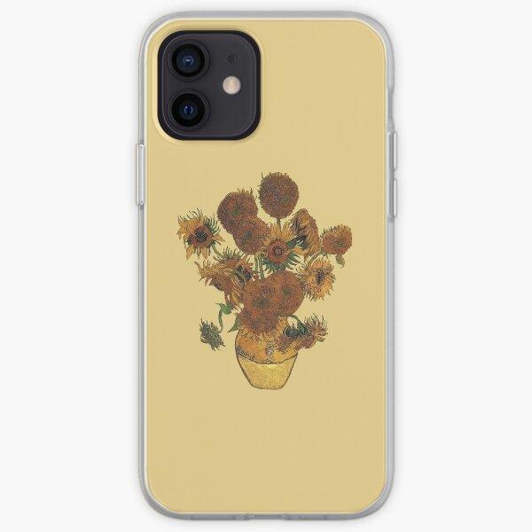 Van Gogh Sun Flowers Grunge Coque souple iPhone