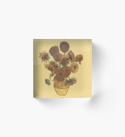 Van Gogh Sun Flowers Grunge Acrylic Block