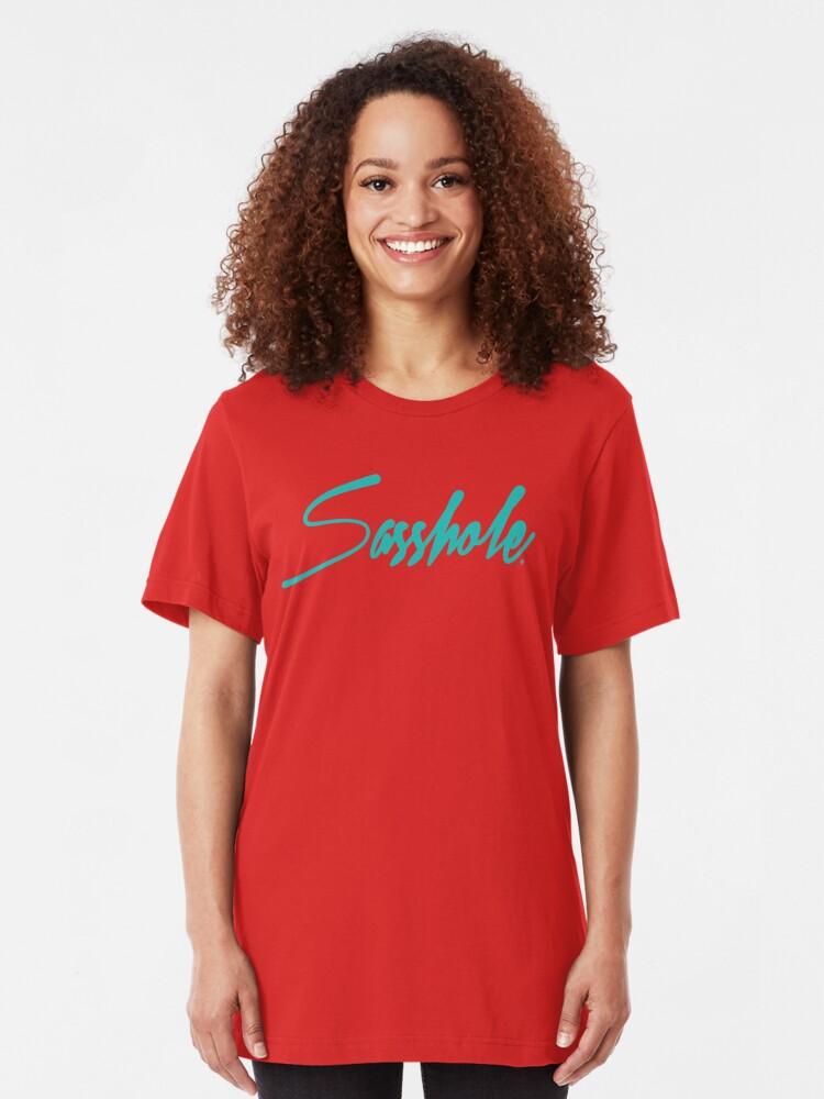 SASSHOLE Womens T-Shirt ~ Silver Glitter