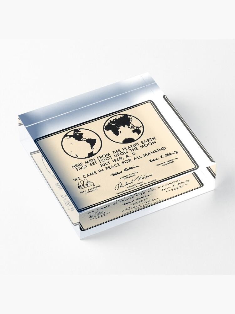 Alternate view of NASA Apollo 11 Lunar Plaque Anniversary Acrylic Block