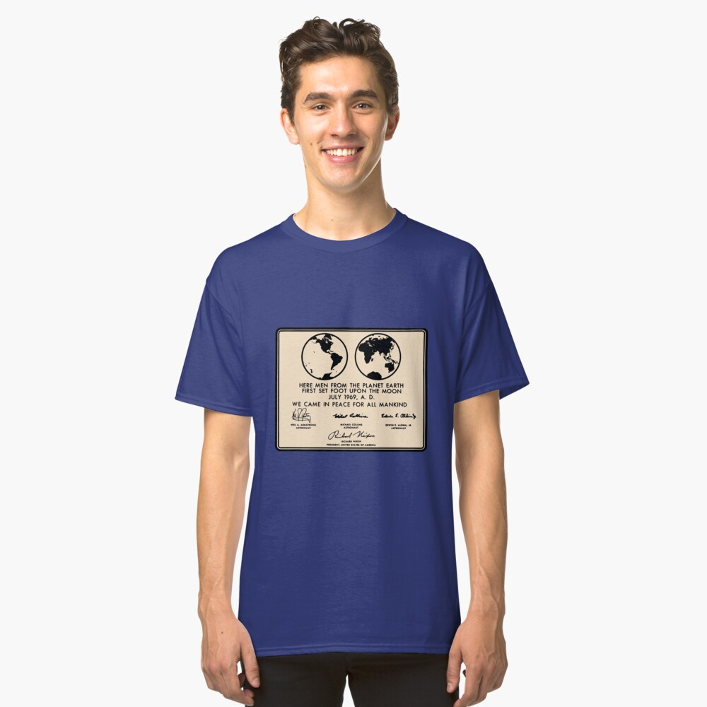 NASA Apollo 11 Lunar Plaque Anniversary Classic T-Shirt