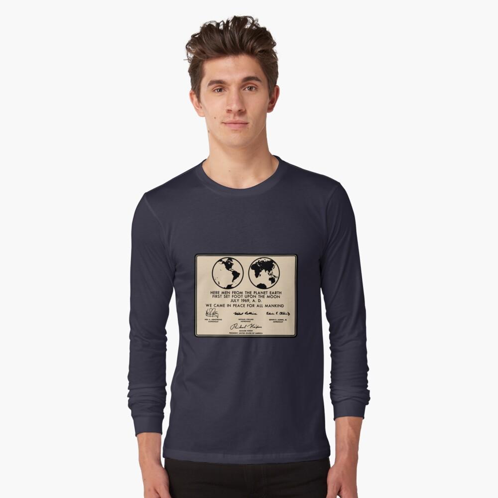 NASA Apollo 11 Lunar Plaque Anniversary Long Sleeve T-Shirt