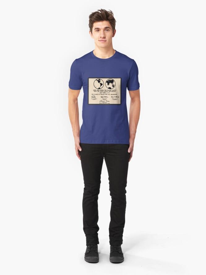 Alternate view of NASA Apollo 11 Lunar Plaque Anniversary Slim Fit T-Shirt