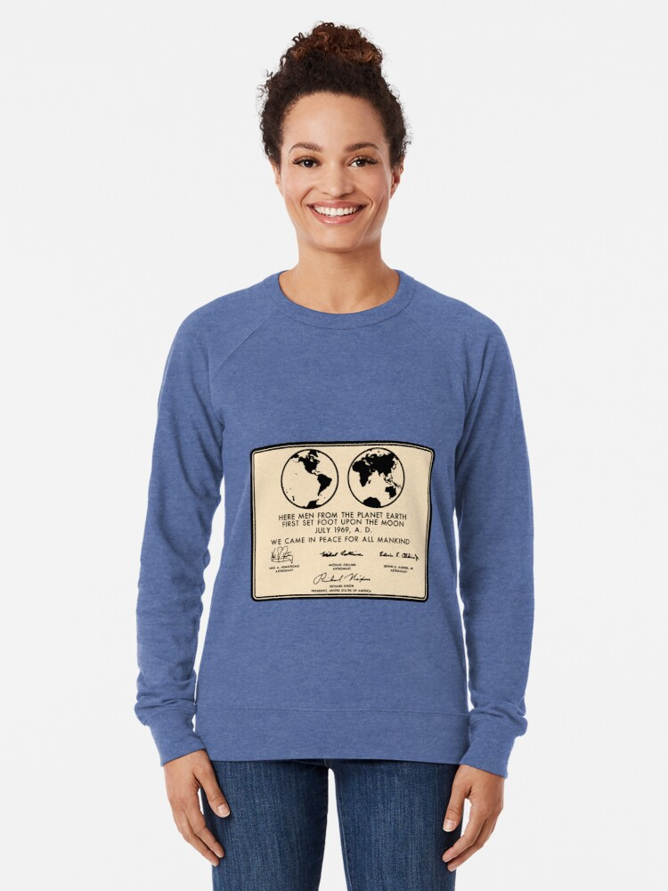Alternate view of NASA Apollo 11 Lunar Plaque Anniversary Lightweight Sweatshirt