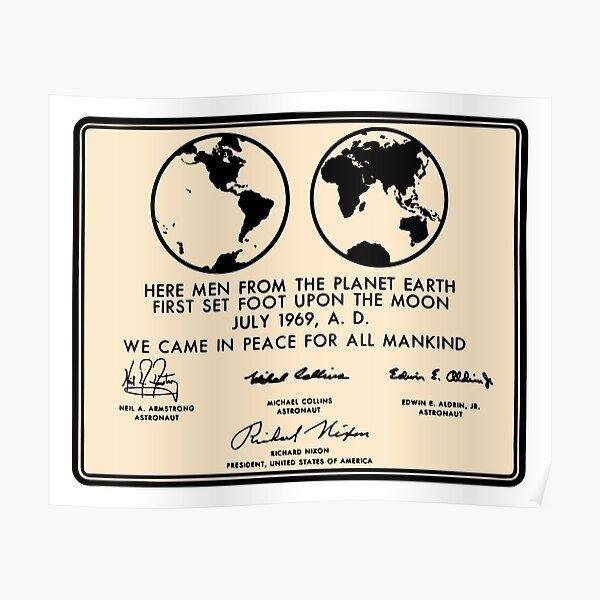 NASA Apollo 11 Lunar Plaque Anniversary Poster