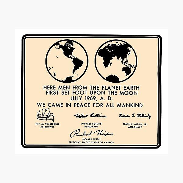 NASA Apollo 11 Lunar Plaque Anniversary Photographic Print