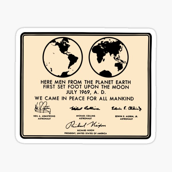 NASA Apollo 11 Lunar Plaque Anniversary Sticker