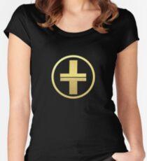 Nehmen Sie das Gold-Logo Tailliertes Rundhals-Shirt