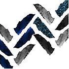 «espina de pescado - pintura azul marino, cromo plateado, carbón y aguamarina brillante» de cadinera
