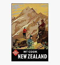New Zealand Mt. Cook Vintage Poster Restored Photographic Print