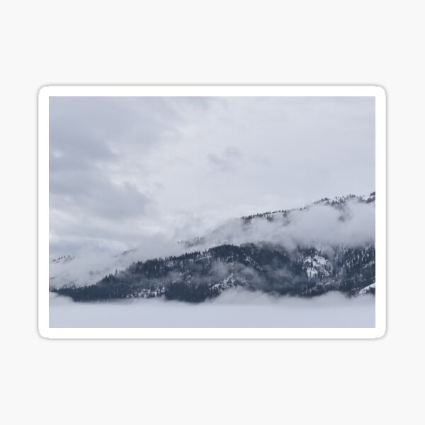 Foggy Snow Cover Mountain Tops Sticker