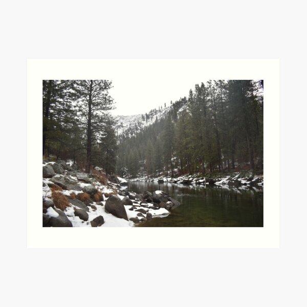 River in a Snowy Mountain Art Print