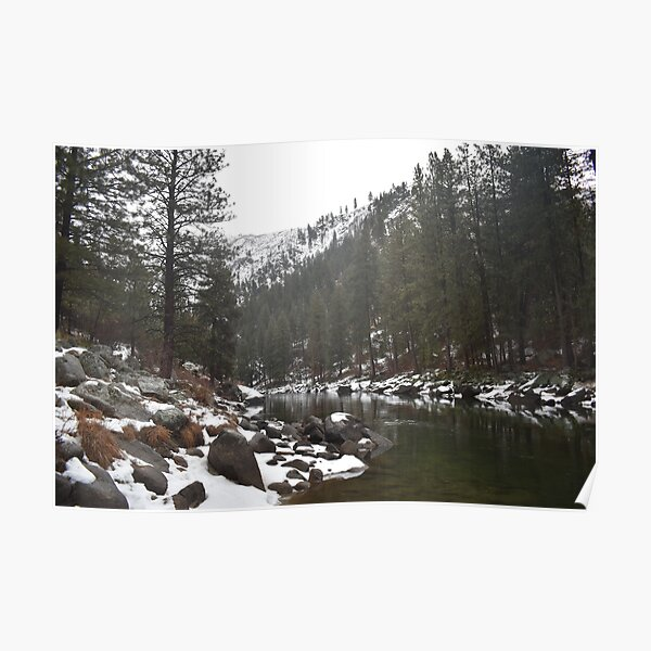 River in a Snowy Mountain Poster