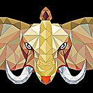 Elephant pop art, African Bull Elephant in abstract 3D illustration with white tusks, awesome polygonal artwork by Angie Stimson