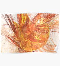 Abstract in Oranges, Red and Yellow Poster