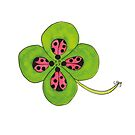 Good Luck - Four Leaf Clover with Ladybugs by Leanne Barrett
