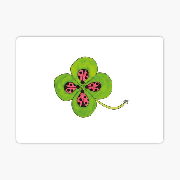 Good Luck - Four Leaf Clover with Ladybugs Sticker