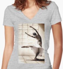 Dance Finess Women's Fitted V-Neck T-Shirt