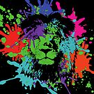 Lion Pop Art , African Lion Pop Art with colorful neon spots and splashes on black background by Angie Stimson