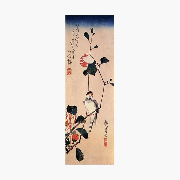Java Sparrow On A Magnolia Branch by Utagawa Hiroshige (Reproduction) Photographic Print