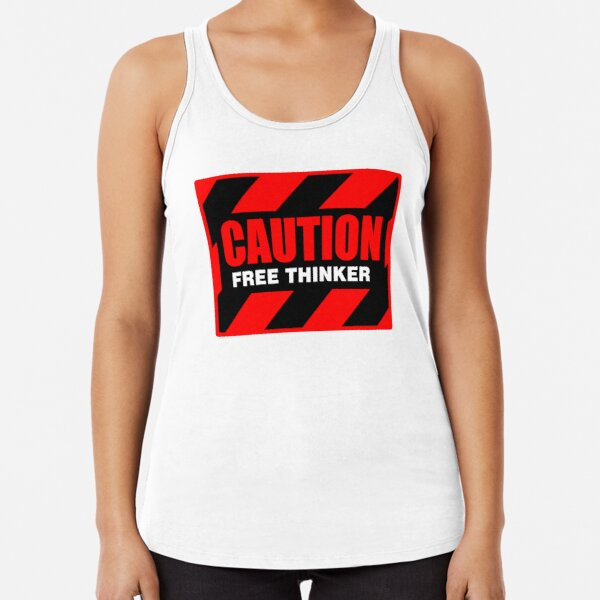Caution Free Thinker_red and yellow I Racerback Tank Top