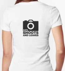 Eats, Shoots & Leaves... Women's Fitted V-Neck T-Shirt