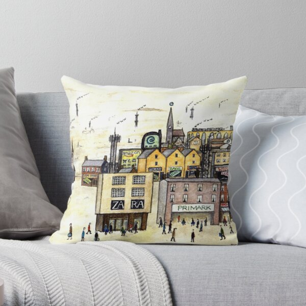 Lowry e-High Street Pastiche Illustration Throw Pillow