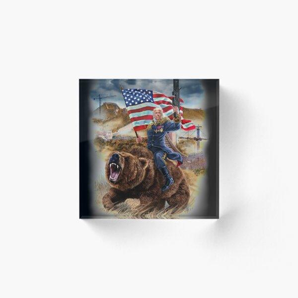 USA Republican President Donald Trump Building Epic Wall Acrylic Block