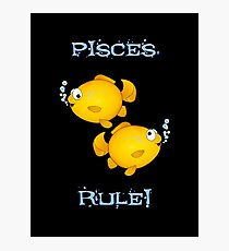 Pisces cartoon goldfish humourous  Photographic Print