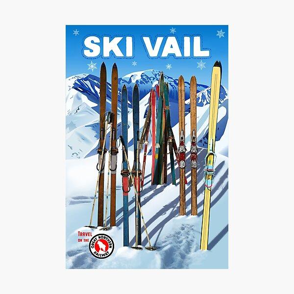 Vintage-Style Ski Vail Travel Poster Photographic Print