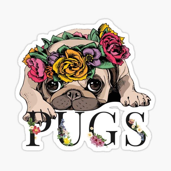 Floral Pug Sticker