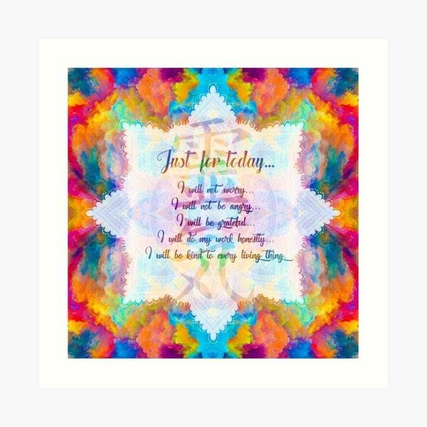 Reiki Principles - Reiki Precepts Art Print