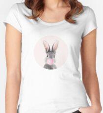 Häschen mit Kaugummi Tailliertes Rundhals-Shirt