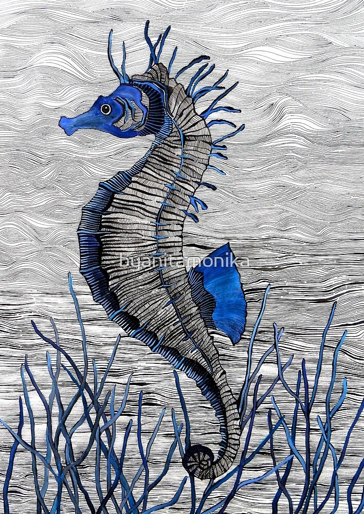 Seahorse (blue) by byanitamonika