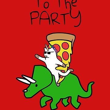 A la fiesta (Unicorn Cat and Pizza Riding Triceratops) (Fondo rojo) de jezkemp