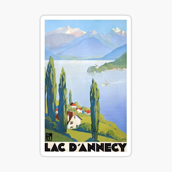 French vintage travel poster Annecy France Sticker