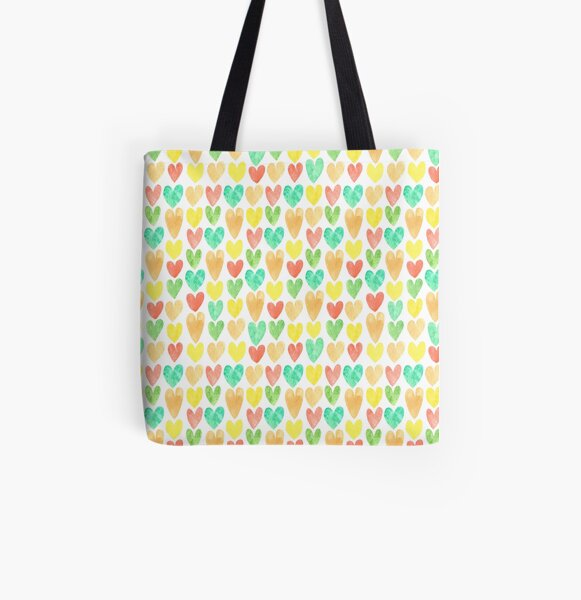 Hearts All Over Print Tote Bag