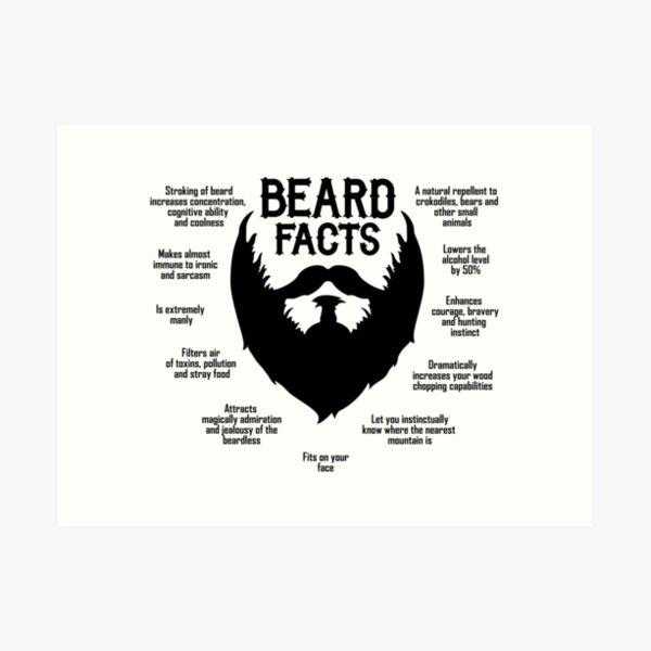 Beard Facts (black) Art Print