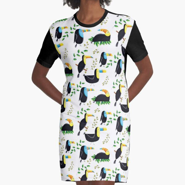 Totally Tropical Toucans With Leaves Graphic T-Shirt Dress