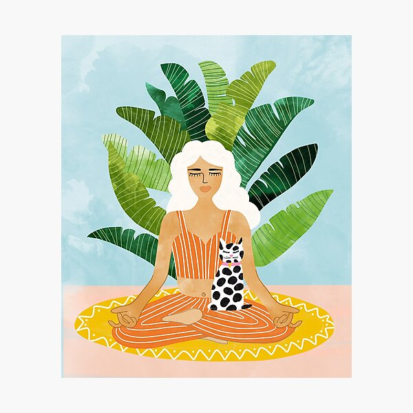 Meditation With Thy Cat #illustration #painting Photographic Print