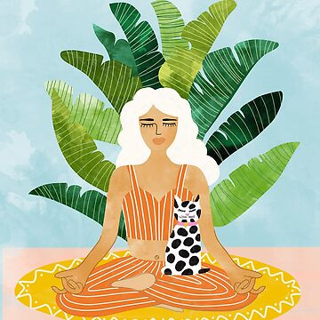 Meditation With Thy Cat #illustration #painting by 83oranges