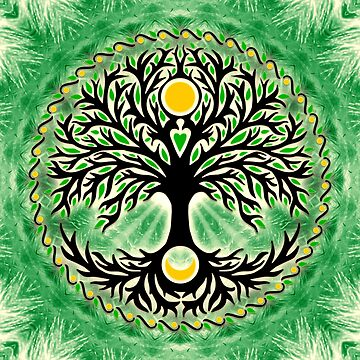 Yggdrasil, tree of life, sun and moon, tree of life by nitty-gritty