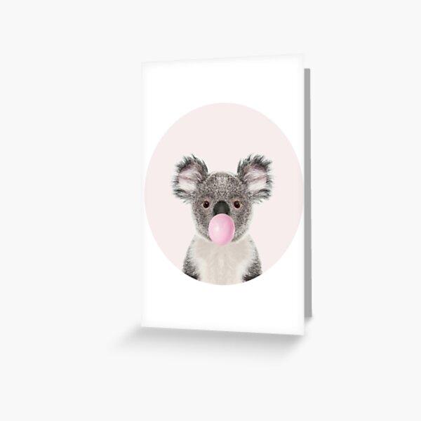 Oso de koala con chicle Tarjetas de felicitación