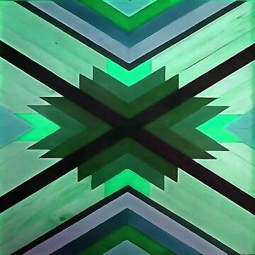 Navaho Vibes Geometric Pattern - Black Pine Aqua by taiche