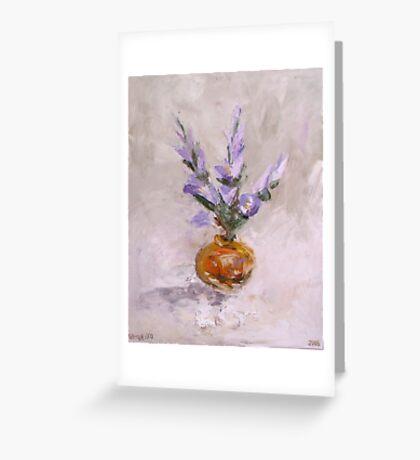 Violet flowers in vase Greeting Card